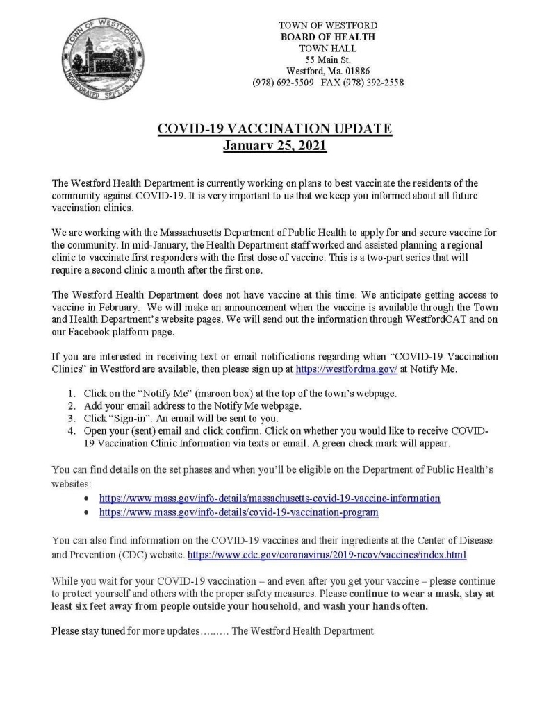 Westford Health Department memo pertaining to COVid-19 information access.